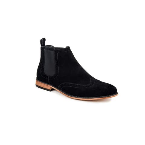 Gino Vitale Men's Wing Tip Chelsea Boots