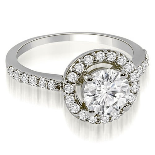 1.00 cttw. 14K White Gold Halo Round Cut Diamond Engagement Ring