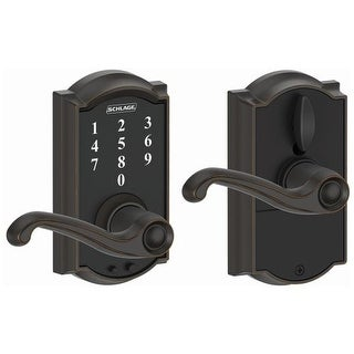 Schlage FE695-CAM-FLA Camelot Touch Entry Leverset with Flair Lever