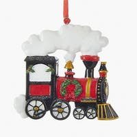 """Pack of 12 Red and Black Christmas Decoration Train Ornaments 3.94"""""""