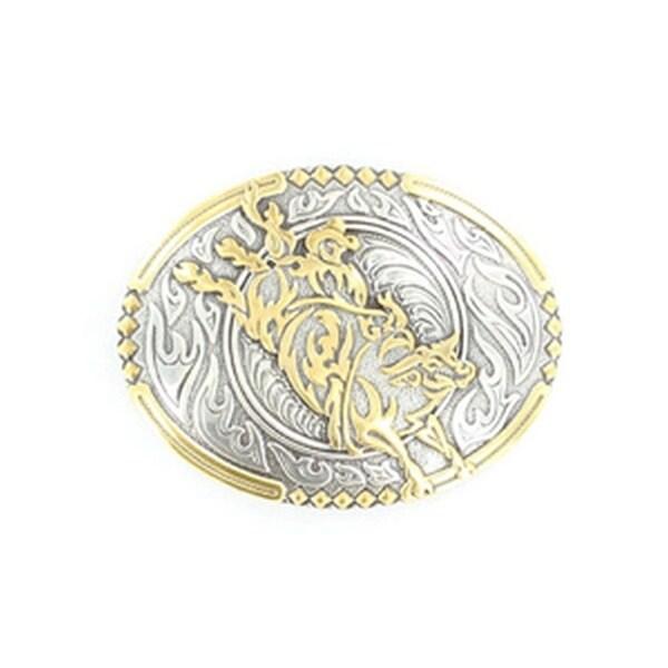 Crumrine Western Belt Buckle Oval Bucking Bull Rider Gold Silver - 2 3/4 x 3 3/4