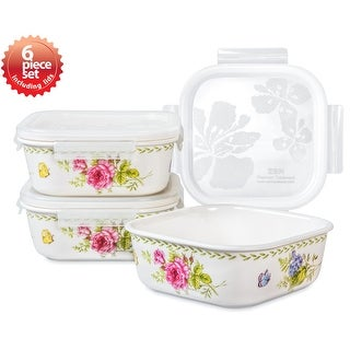 Lock & Lock Ashley 670ml /22oz Square Ceramic Bowl 3PC Set