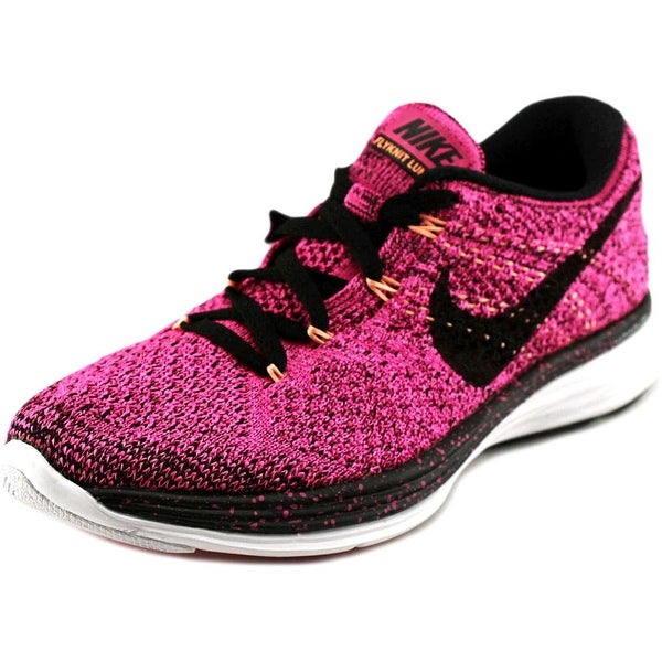 Nike Flyknit Lunar 3 Women Round Toe Synthetic Pink Running Shoe
