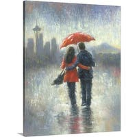 Vickie Wade Premium Thick-Wrap Canvas entitled Seattle Lovers in the Rain - Multi-color