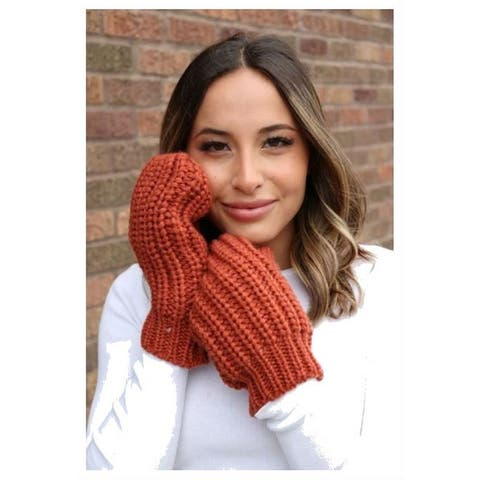 Panache Accessories Women's Cable Knit Fleece Lined Mitten Fashion Glove Orange