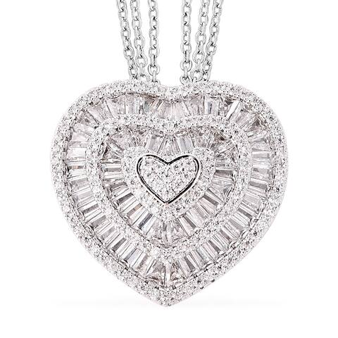 "Shop LC Cubic Zirconia Love Heart Silvertone Pendant Necklace 20 inch - 20"""