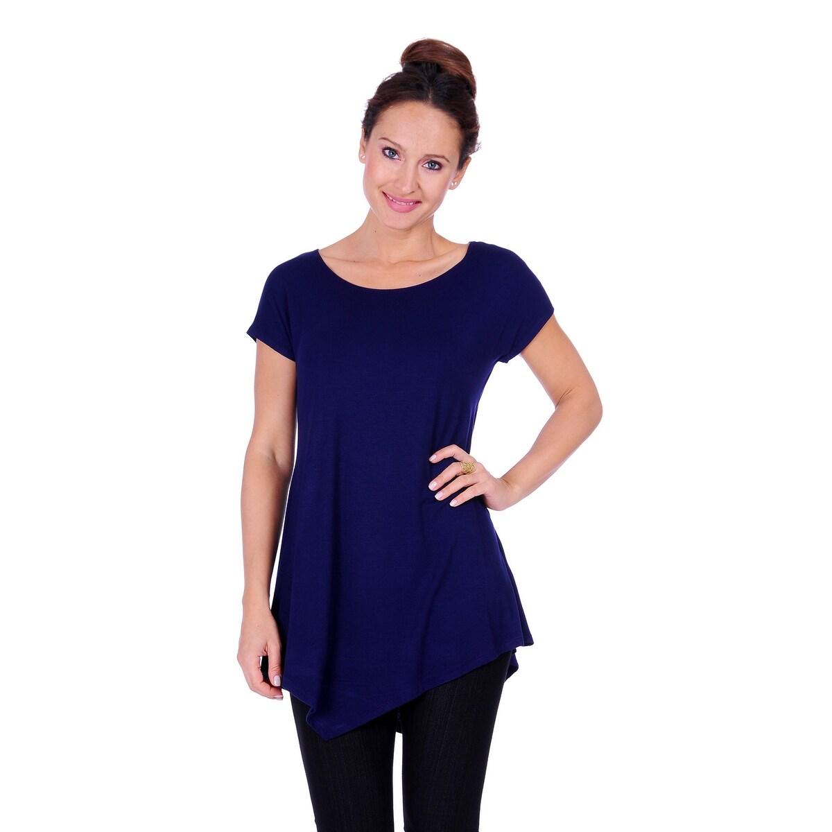 Simply Ravishing Women's Assymetrical Front/Back Handkerchief Hem Sleeveless Tunic Top - Thumbnail 10