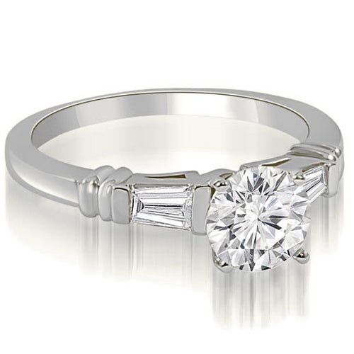 0.75 cttw. 14K White Gold Round Baguette Three Stone Diamond Engagement Ring