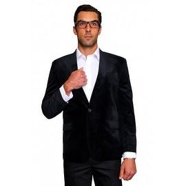 MZV-404 BLACK Men's Manzini Velvet with Black satin Collar sport coat
