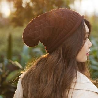 Zodaca Women Winter Oversized Triangle Pattern Baggy Crochet Beanie Knit Hat