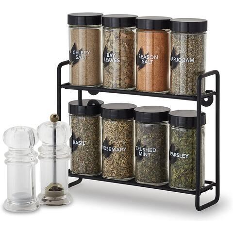 Kamenstein 8-Jar Wire Spice Rack with Salt Shaker and Pepper Grinder