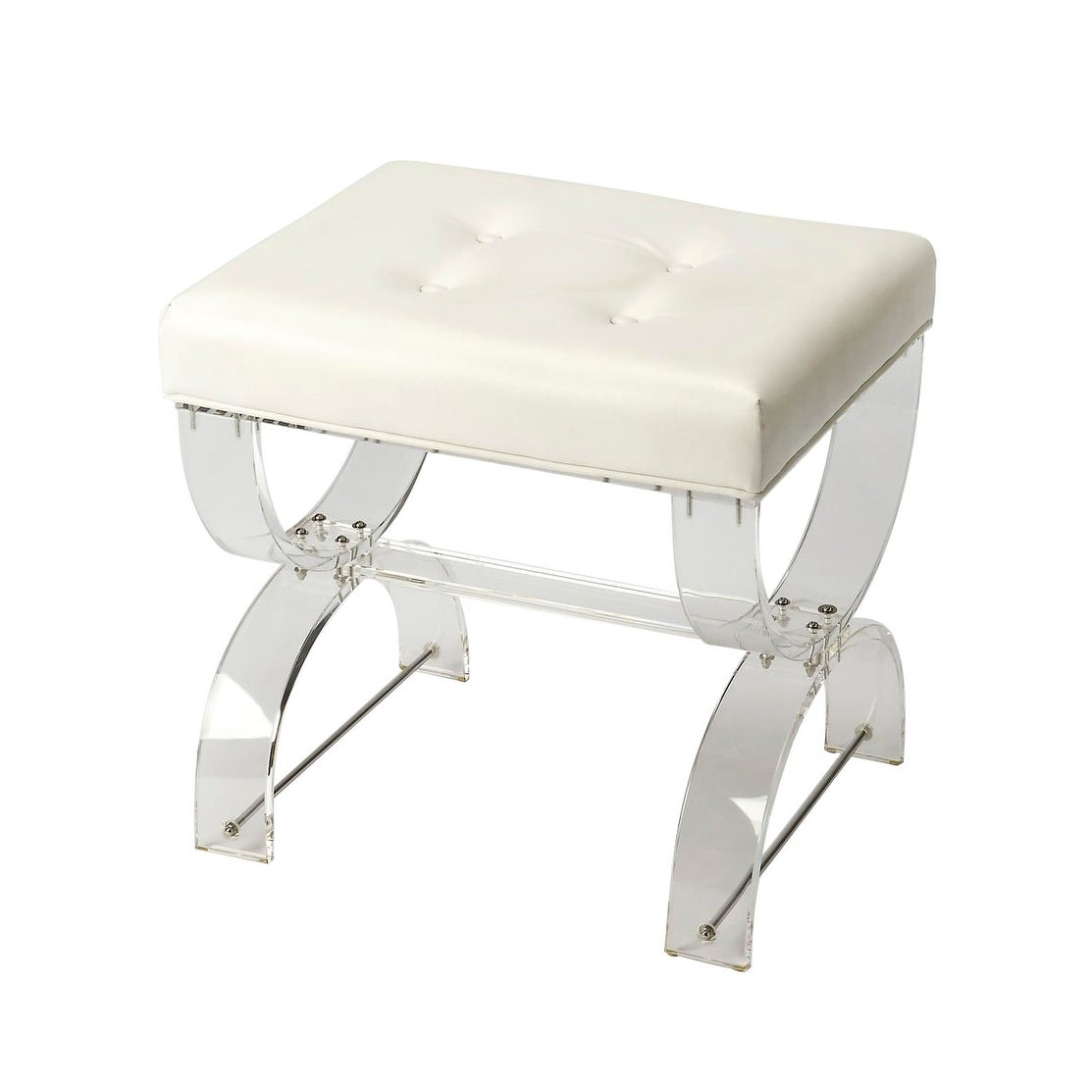Image of: Shop Black Friday Deals On Modern Clear Acrylic Rectangular Vanity Stool White Overstock 28845747