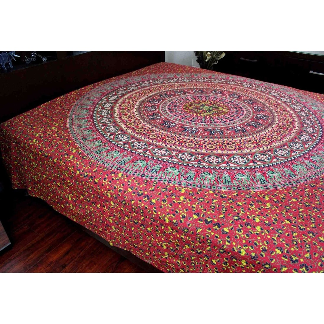 Sanganer Mandala Peacock Cotton Floral Tapestry Wall Hanging Tablecloth Bedspread Bedsheet Beach Sheet Dorm Decor Twin 68 X 102 Inches Home Kitchen Tapestries