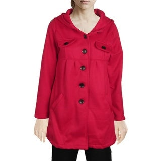 Unique Bargains XS Ladies Hooded Pocket Coat Single Breasted Hoodie Red