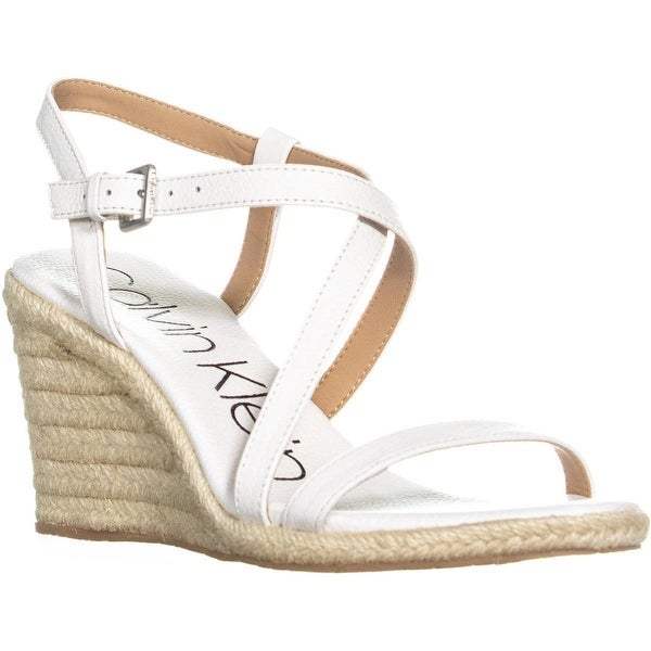 6e75b5d93c6 Shop Calvin Klein Bellemine Espadrille Wedge Sandals, Platinum White ...