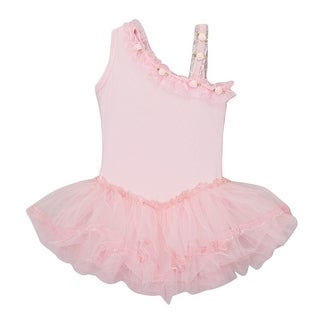 Girls Pink Ruffle Asymmetrical Shoulder Ballet Dress 12M-10