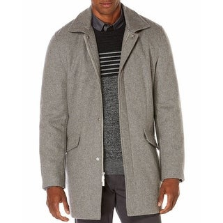Perry Ellis NEW Gray Mens Size XL Full-Zipped Textured Coat Wool