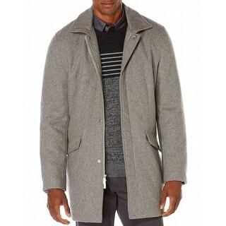 Perry Ellis NEW Gray Mens Size XL Full-Zipped Textured Coat Wool