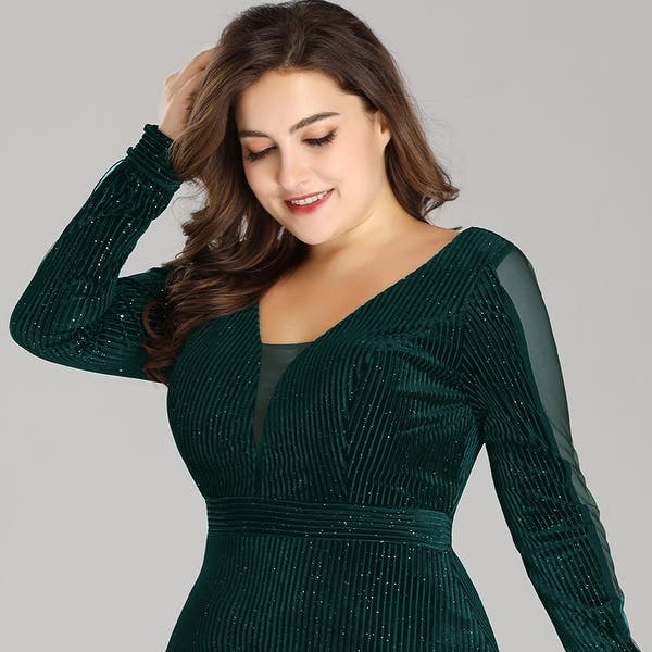 Shop Ever-Pretty Women Plus Size Velvet Long Formal Evening ...
