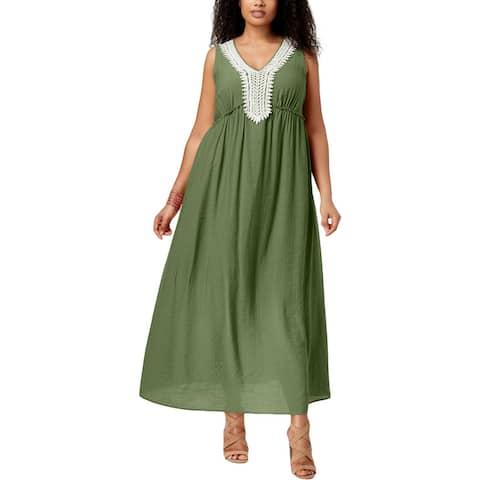 NY Collection Womens Plus Maxi Dress Crochet Trim Maxi