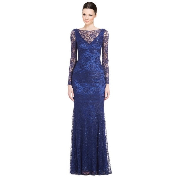 Shop Theia Lace Long Sleeve Evening Gown Dress Cerulean - Free ...