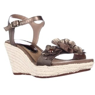 BareTraps Tease Espadrille Flower Wedge Sandals - Bronze