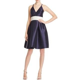 Carmen Marc Valvo Womens Cocktail Dress Embellished Sleeveless