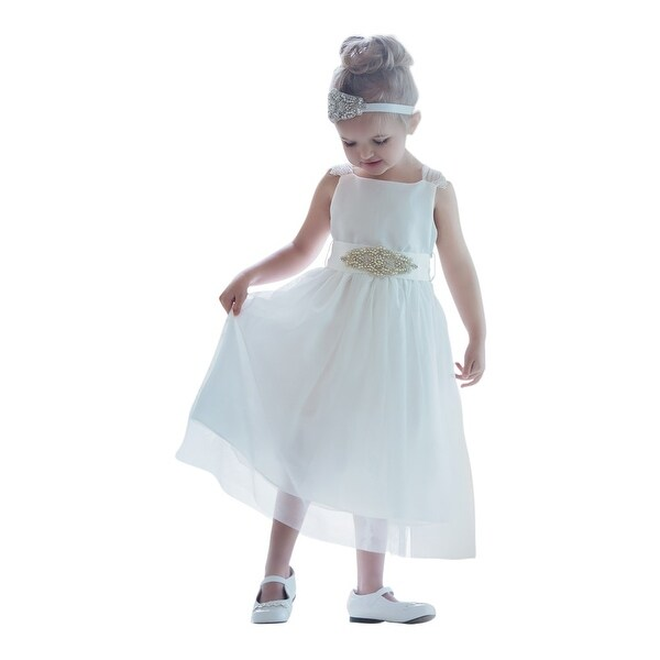 "Think Pink Bows Baby Girls Off-White Sash ""Ava"" Flower Girl Dress 6-12M"