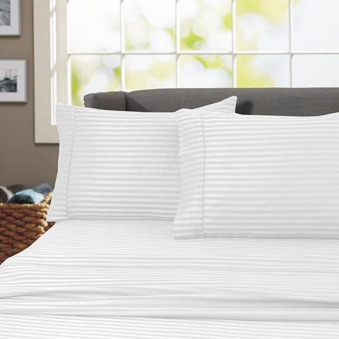 Porch & Den Jericho Stripe 600 Thread Count Egyptian Cotton Bed Sheet Set