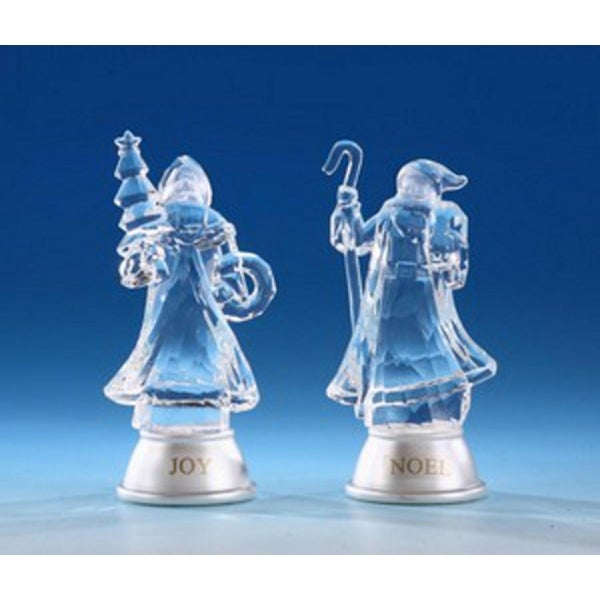 """Pack of 8 Icy Crystal Illuminated Father Christmas Figurines 5"""""""