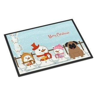 Carolines Treasures BB2336MAT Merry Christmas Carolers Pug Brown Indoor or Outdoor Mat 18 x 0.25 x 27 in.