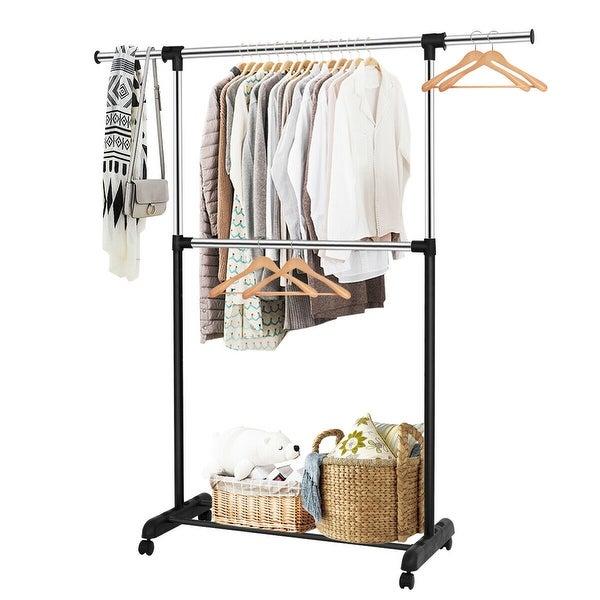 Costway 2 Rod Garment Rack Adjustable Clothes Hanger Rolling Closet Storage Organizer - as pic