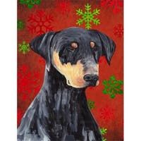 28 x 40 in. Doberman Red and Green Snowflakes Holiday Christmas
