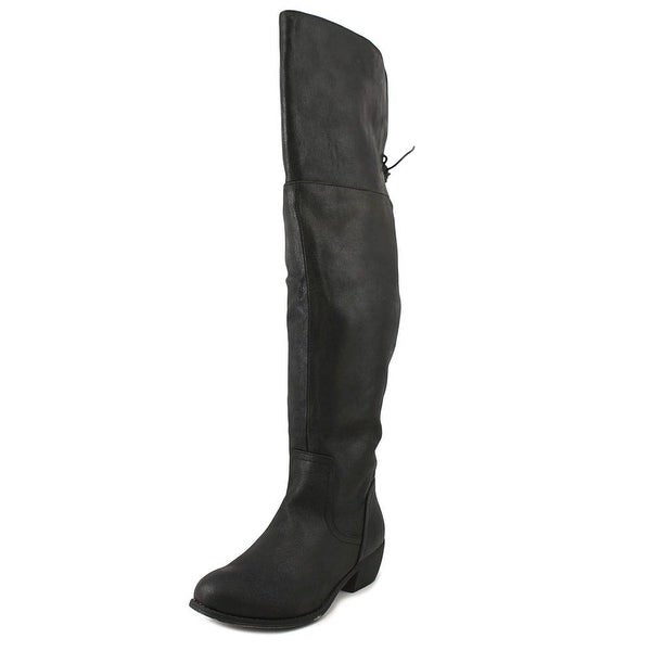 Rampage Tanto Women Round Toe Canvas Black Over the Knee Boot