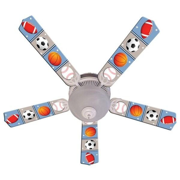 Sports Balls Print Blades 52in Ceiling Fan Light Kit - Multi