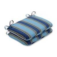 """Set of 2 Blue Awning Stripe Outdoor Patio Seat Cushions 18.5"""" - Green"""