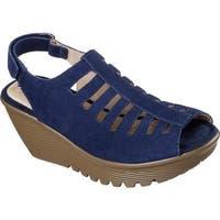 Skechers Women's Parallel Trapezoid Platform Wedge Sandal Navy