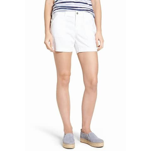 Caslon White Flap Pockets Women's 0 Bermuda Walking Casual Shorts