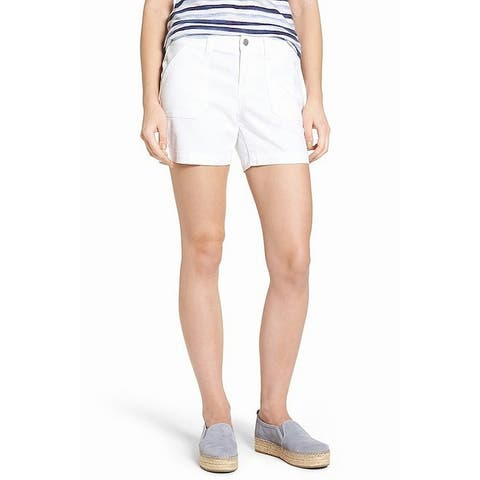 Caslon White Women's Size 14 Flat-Front Utility Casual Shorts