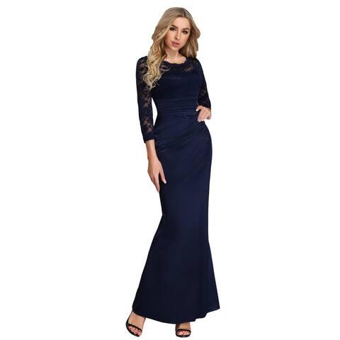 6ed39e4da91 Ever-Pretty Women Elegant Round Neck Sleeves Lace Evening Cocktail Dress  07584