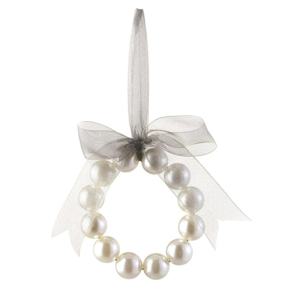 "5"" Glamour Time Decorative Cream Pearl Christmas Wreath Ornament with Silver Bow"