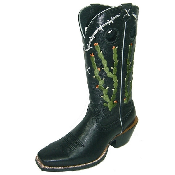 Twisted X Western Boot Womens Gold Buckle Ruff Black Deer Tan