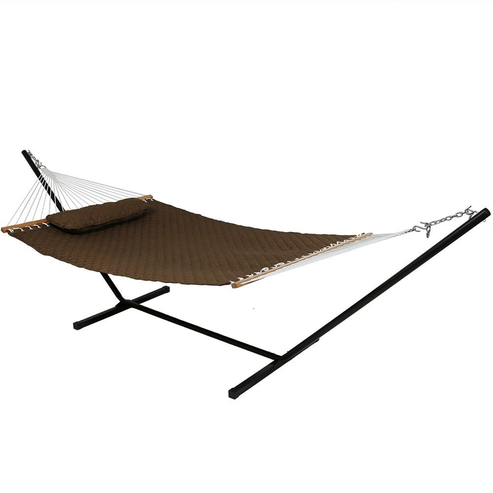 Sunnydaze Quilted Double Fabric 2-Person Hammock & Hammock Stand - Thumbnail 3