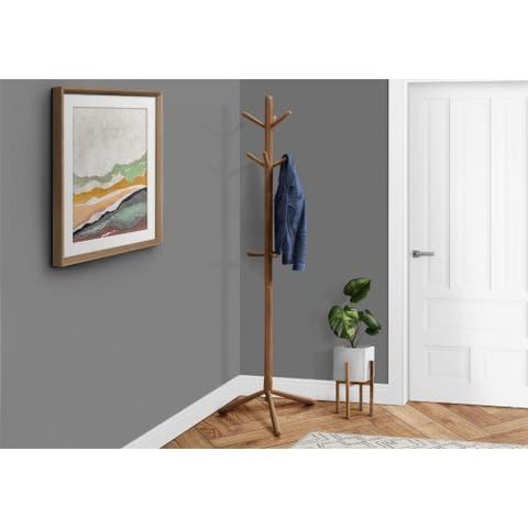 Offex Oak Contemporary Solid Wood Coat Rack