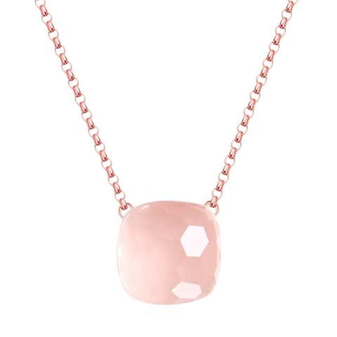 Vedantti Max Honeycomb Cut Rose Quartz Gemstone Diva Solitaire Necklace