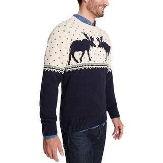 Weatherproof Vintage Mens Moose Crew Pullover Sweater Cotton Printed