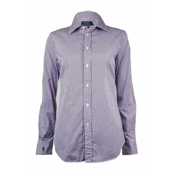 3b7cbc088f Shop Polo Ralph Lauren Women s Harper Custom Fit Striped Dress Shirt -  Purple - 4 - Free Shipping On Orders Over  45 - Overstock - 15019796