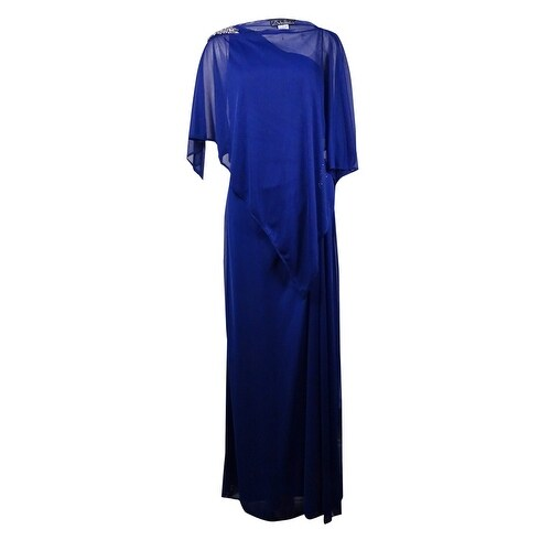 Alex Evenings Women's Beaded 2PC One-Shoulder Chiffon Gown - Electric Blue