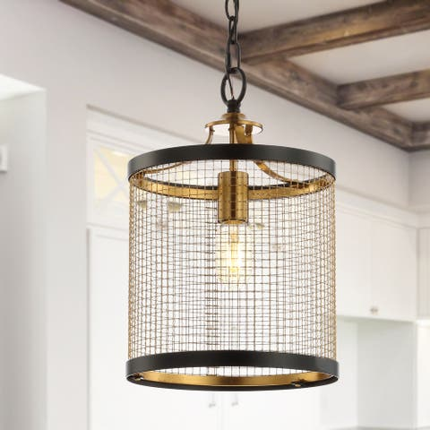 "Elena 10"" Lantern Metal LED Pendant, Black/Brass Gold by JONATHAN Y"