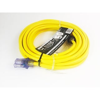 Bold 50' 12/3 AWG SJTW Contractor Grade Lighted Extension Cord, Yellow